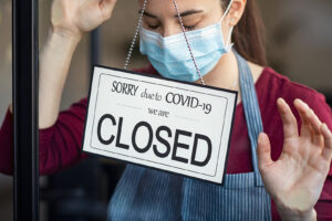Stressed owner forced to close the restaurant due to restrictions on the coronavirus.