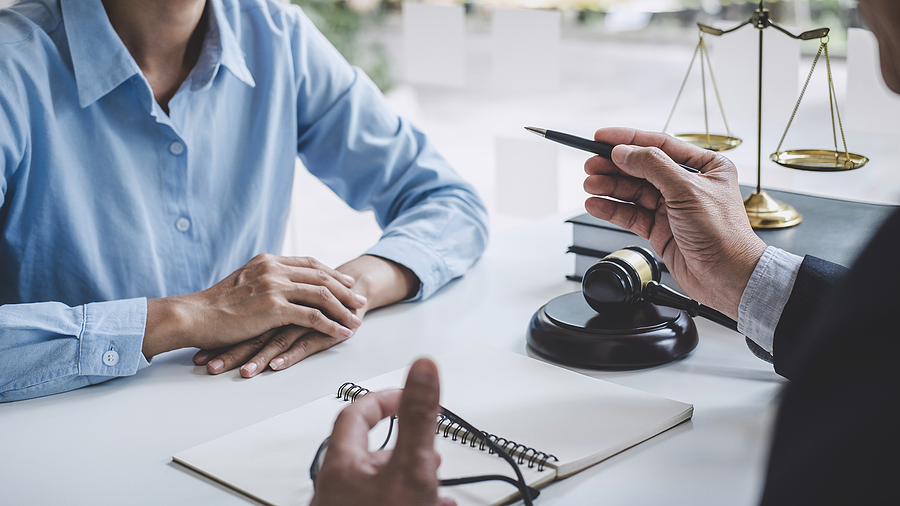 Male client consulting a criminal law solicitor