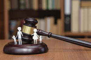 Court and the rights of the family and children. Family law concept