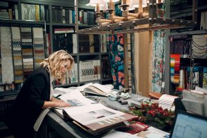 Interior designer while working