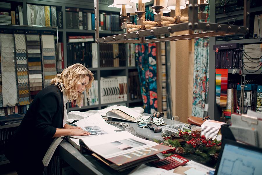 Interior designer while working