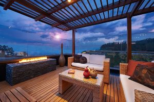 Beautiful modern terrace lounge with bamboo decking