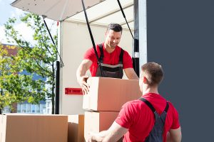 Premium removalists unloading cardboard boxes