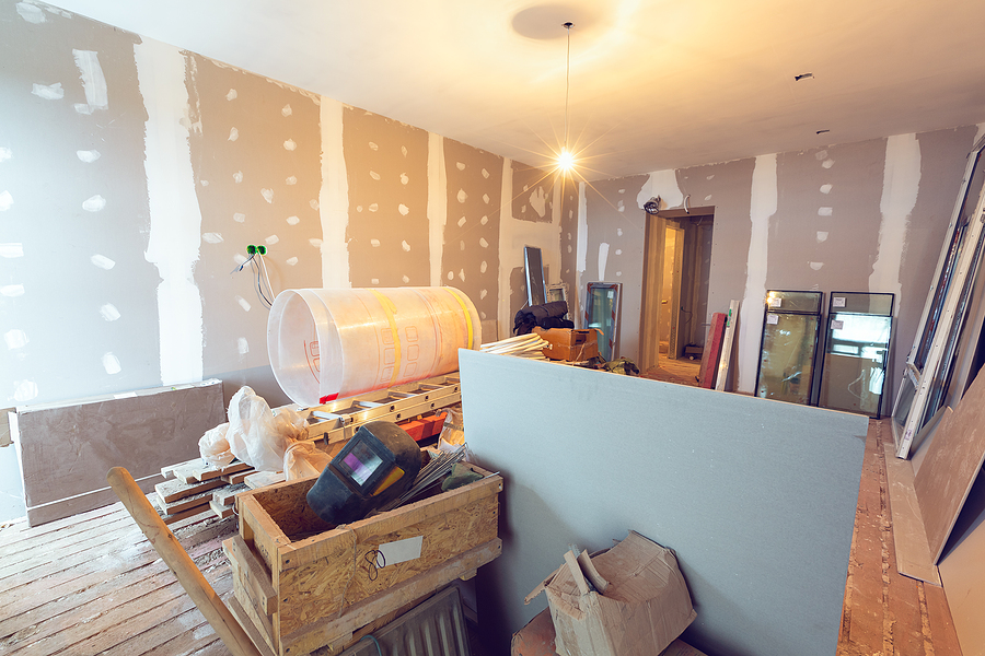 Working process of renovating a room
