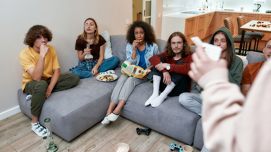 Young people smoking on a bong