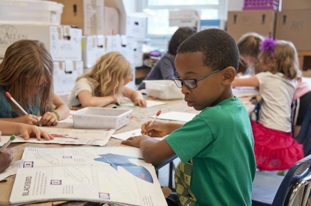 A classroom of kids sitting reading and writing in the books on their desks learning early to get the benefits.