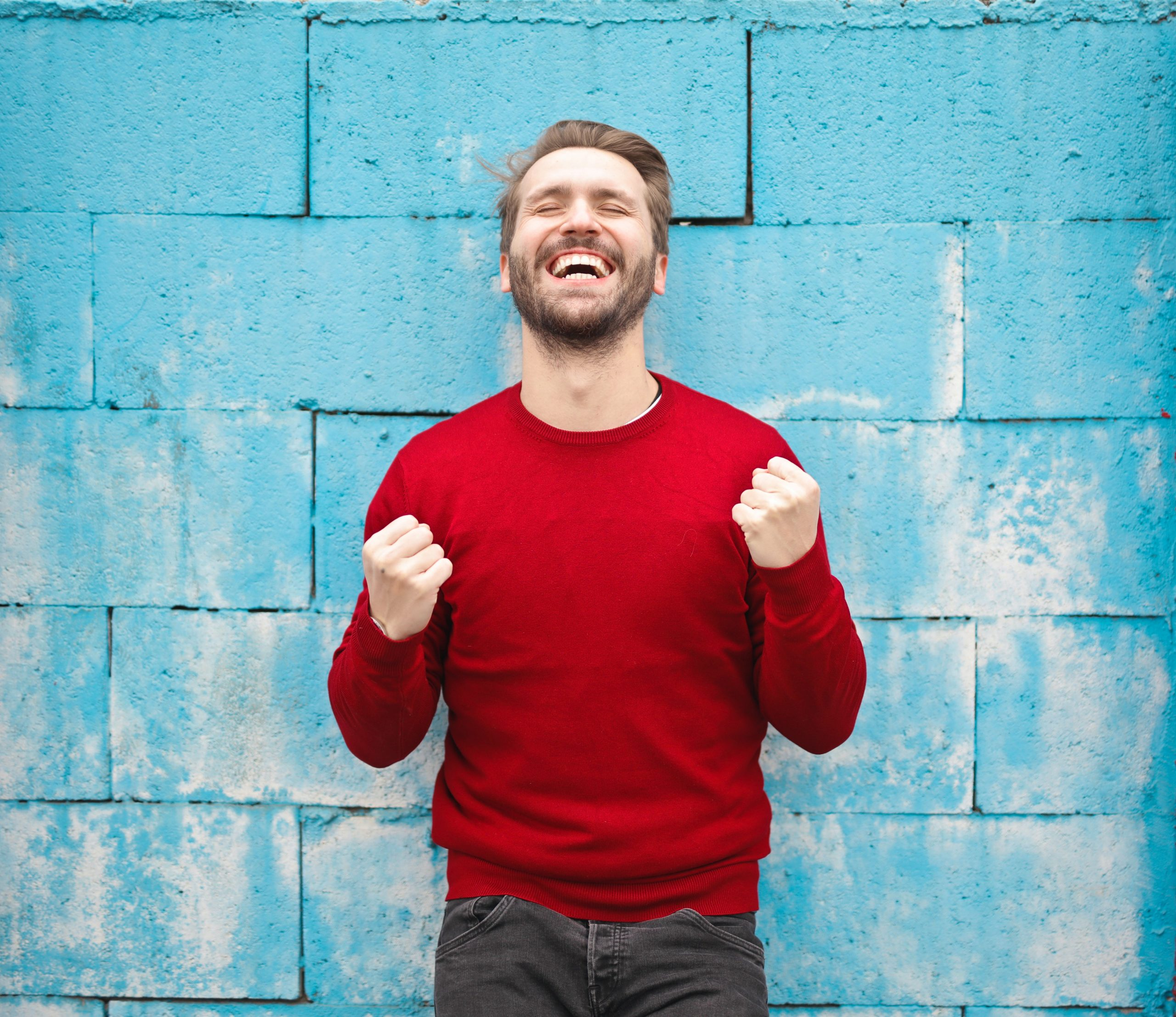 Man happy, satisfied smiling expression.