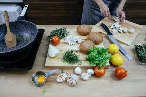 Chefs while preparing the ingredients