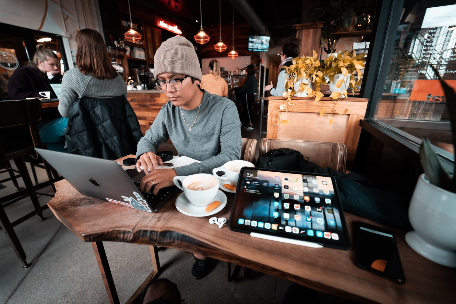 Restaurant owner working on his laptop