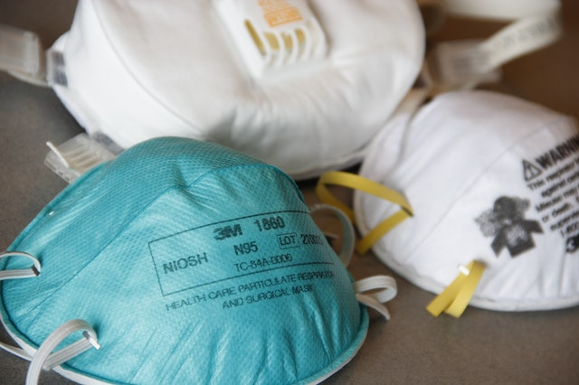 A collection of n95 respirator face masks from an online store.