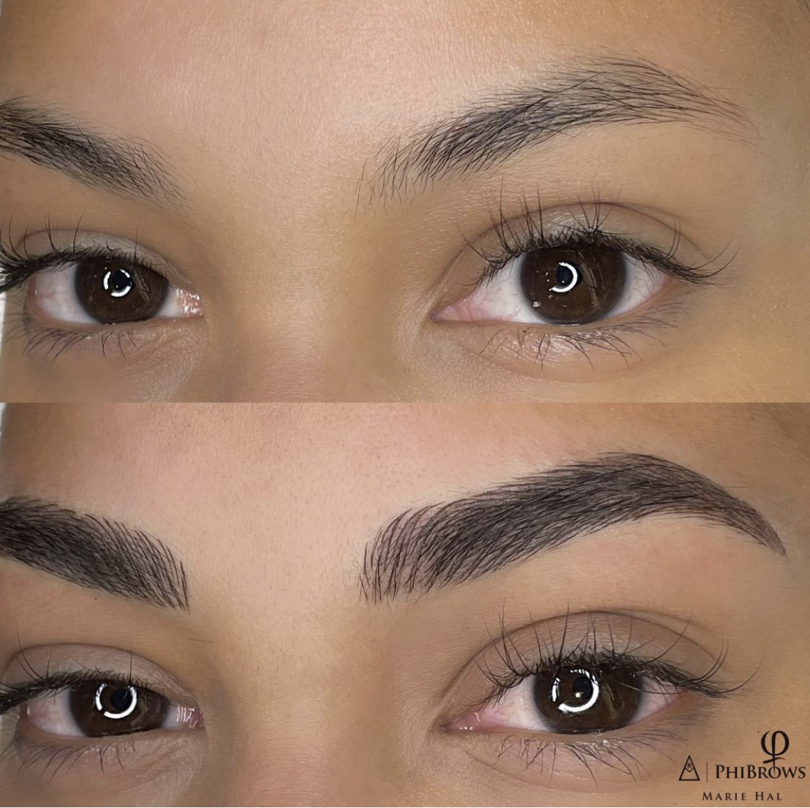 A woman with the microblading eyebrows of her dreams.