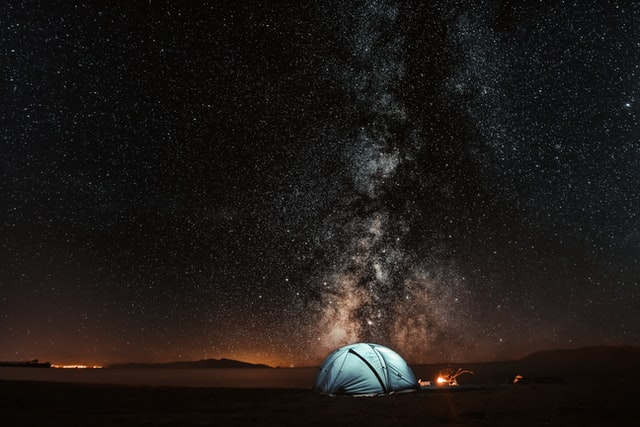 A tent hired to see Australia in the desert at night.