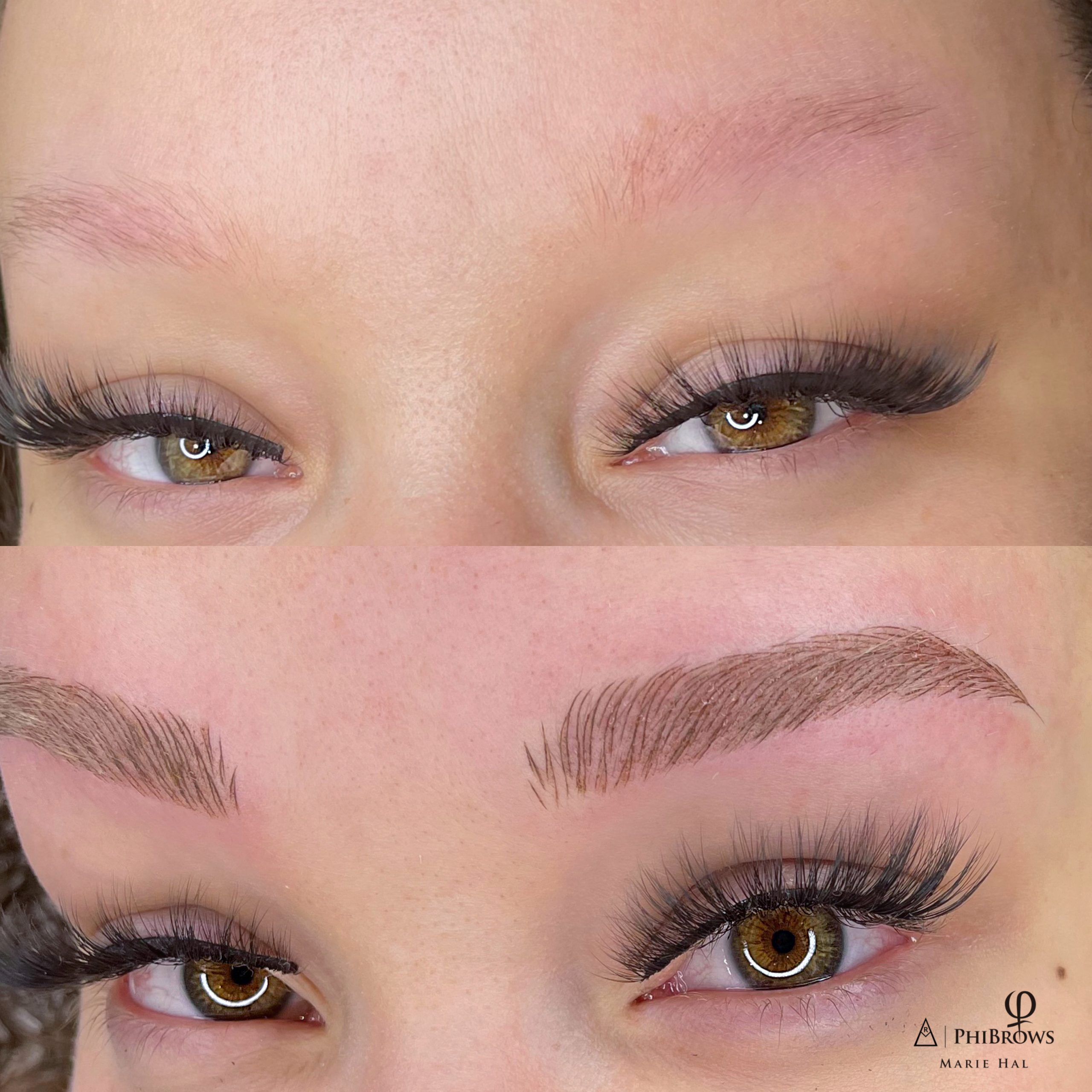 A woman with dream eyebrows as she has had them microbladed.